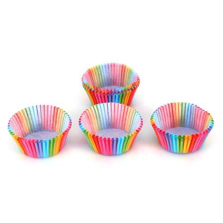 Domqga 100 Pcs Rainbow Couleur Cupcake Liner Cupcake Papier Cuisson Coupe Muffin Cas Moule À Gâteau, Arc-En Couleur Cuisson Tasse, Cupcake Liner Moule - image 1 de 8