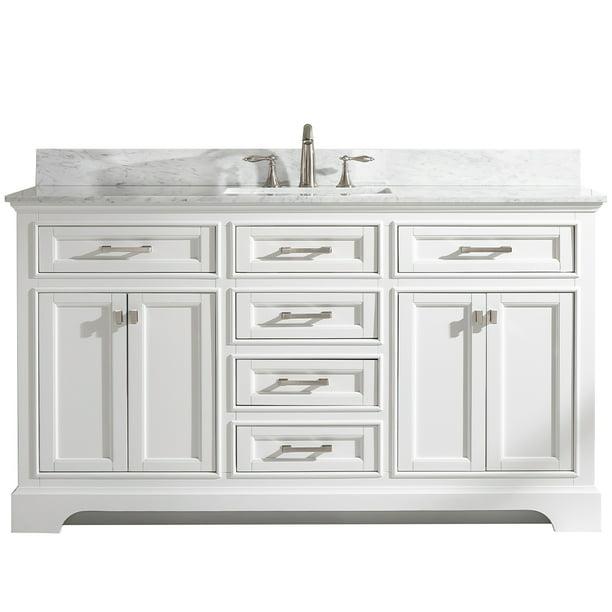 Milano 60 Single Sink Bathroom Vanity Set In White With Carrara Marble And Sink Walmart Com Walmart Com