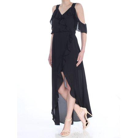XOXO Womens Black Ruffled Cold Shoulder V Neck Maxi Evening Dress  Size: XS ()
