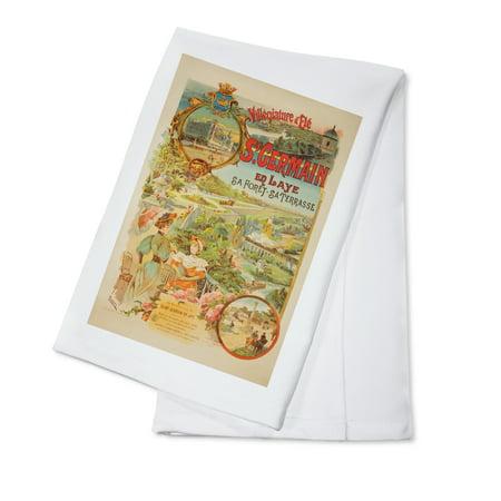 St Germain Vintage Poster (artist: Tamagno) France c. 1902 (100% Cotton Kitchen Towel) - St Germain Carafe