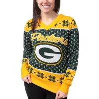 Green Bay Packers Klew Women's Big Logo V-Neck Sweater - Green - S