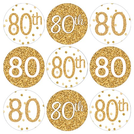 80th Birthday Party Favor Stickers, 180ct - Adult Birthday Party Supplies White and Gold 80th Birthday Candy Decorations Favors