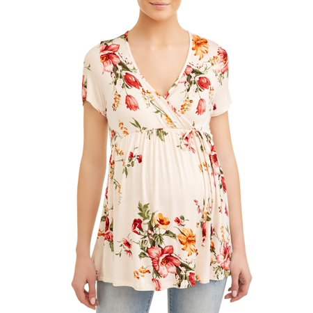 Maternity Floral Tee with Empire Waist and Front Tie