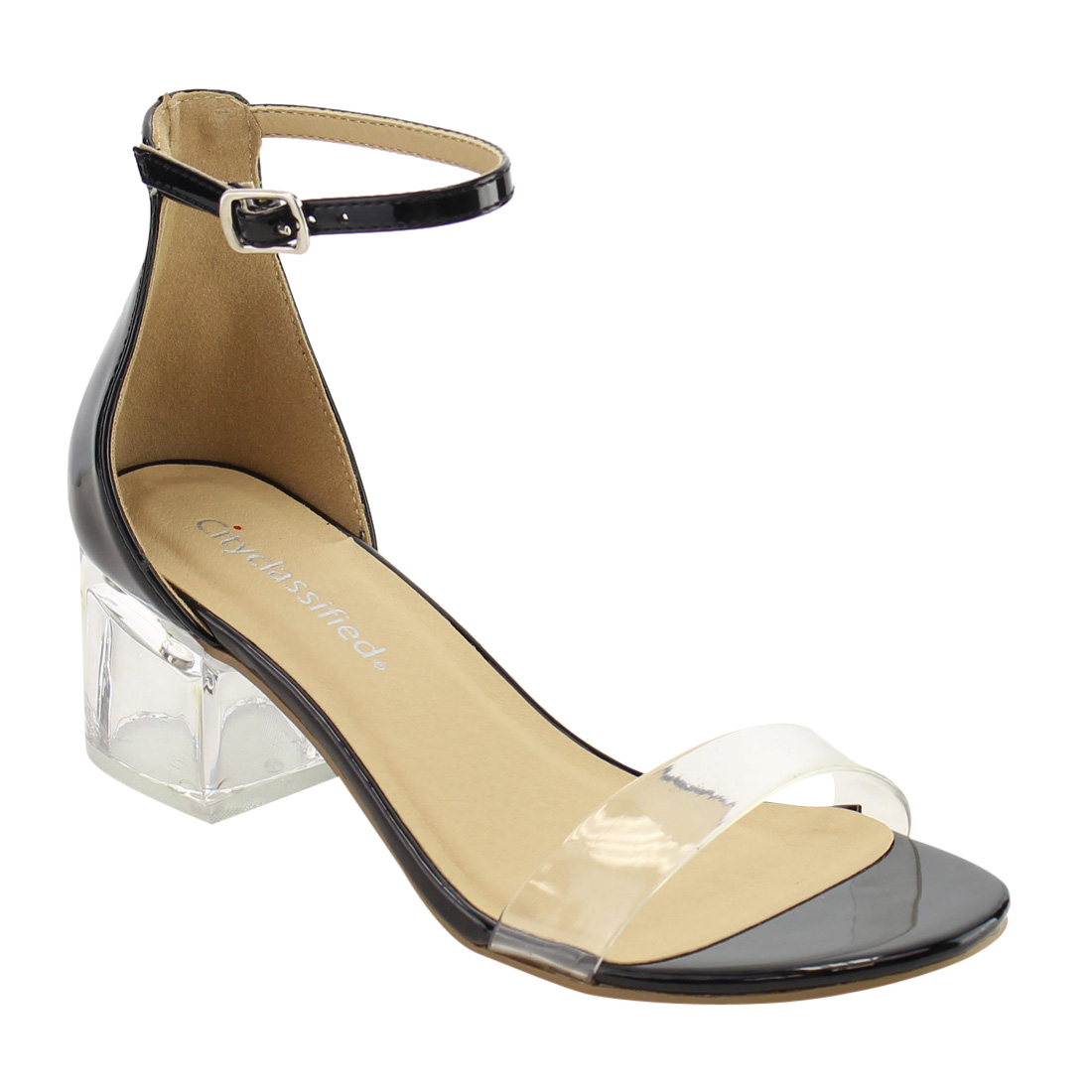 CityClassified IF09 Women Clear Single Band Ankle Strap Lucite Heel Dress Sandal