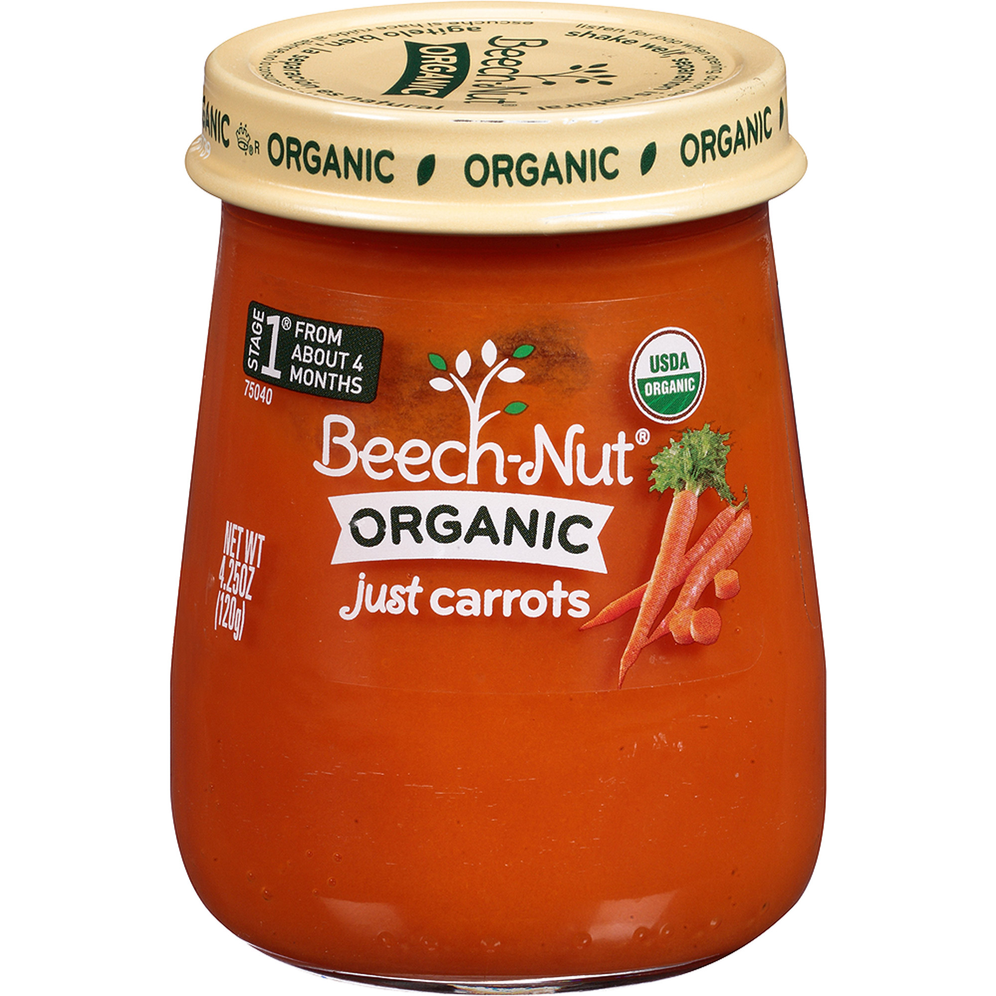 Beech-Nut Organic Stage 1 Just Carrots Baby Food, 4.25 oz, (Pack of 10)