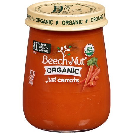Beech-Nut Organic Stage 1 Just Carrots Baby Food, 4.25 oz, (Pack of (Just Carrots)