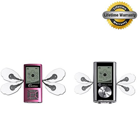 2 Pack Deal TechCare Mini Pink and Silver [Lifetime Warranty] Best Massager Tens Unit FDA 510k Cleared Tens Machine for Pain Management, Actic, Sciatica, Tennis Elbow, Neuropathy