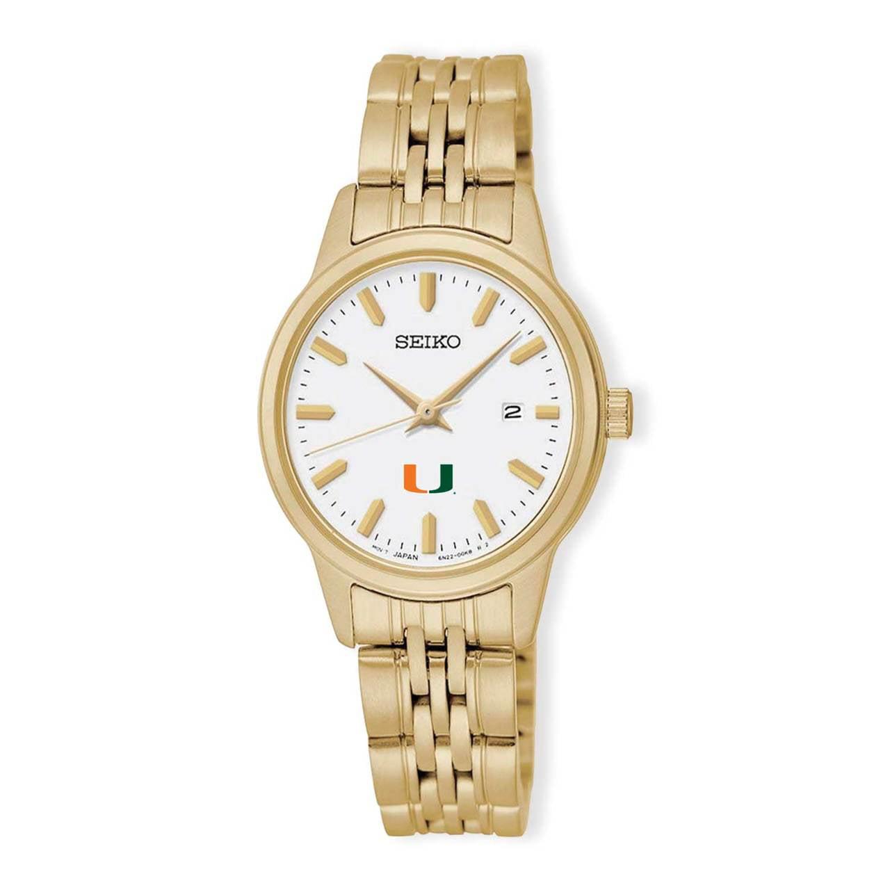 Miami Hurricanes Seiko Quartz White Dial Gold-Tone Women's Watch
