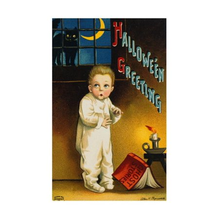 Halloween Greetings Little Boy Print Wall Art By Vintage Apple Collection](Halloween Greetings Words)