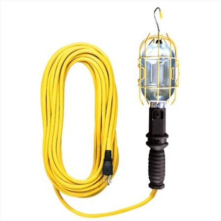 Voltec 08-00382 25 ft. SJTW 100 Watt - Yellow Industrial Metal Work Light, Outlet In Handle, Case Of 6