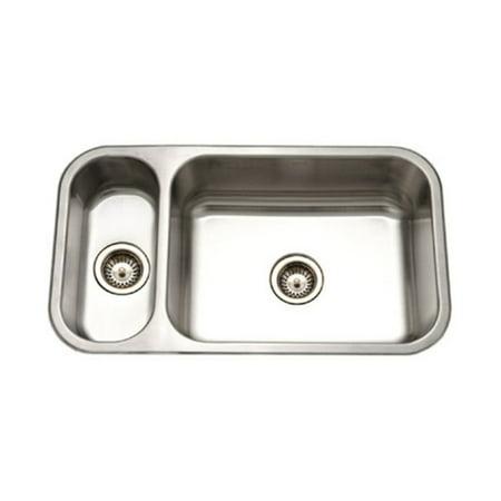 Houzer EHD-3118-1 Elite Series Undermount Stainless Steel 70/30 Double Bowl Kitchen Sink - Elite Undermount Double Bowl