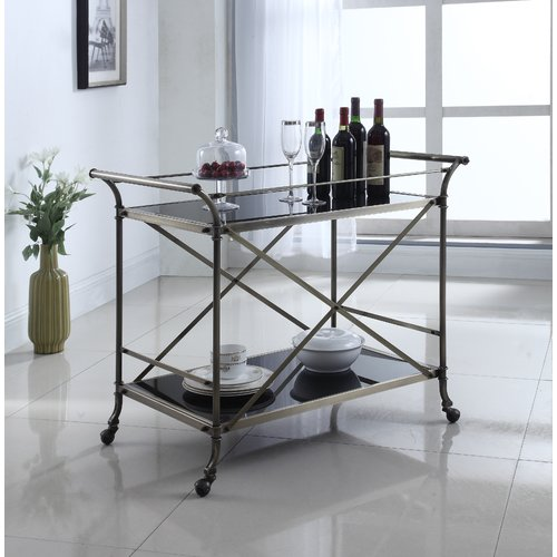 Coaster Serving Cart in Antique Brass, Black Glass