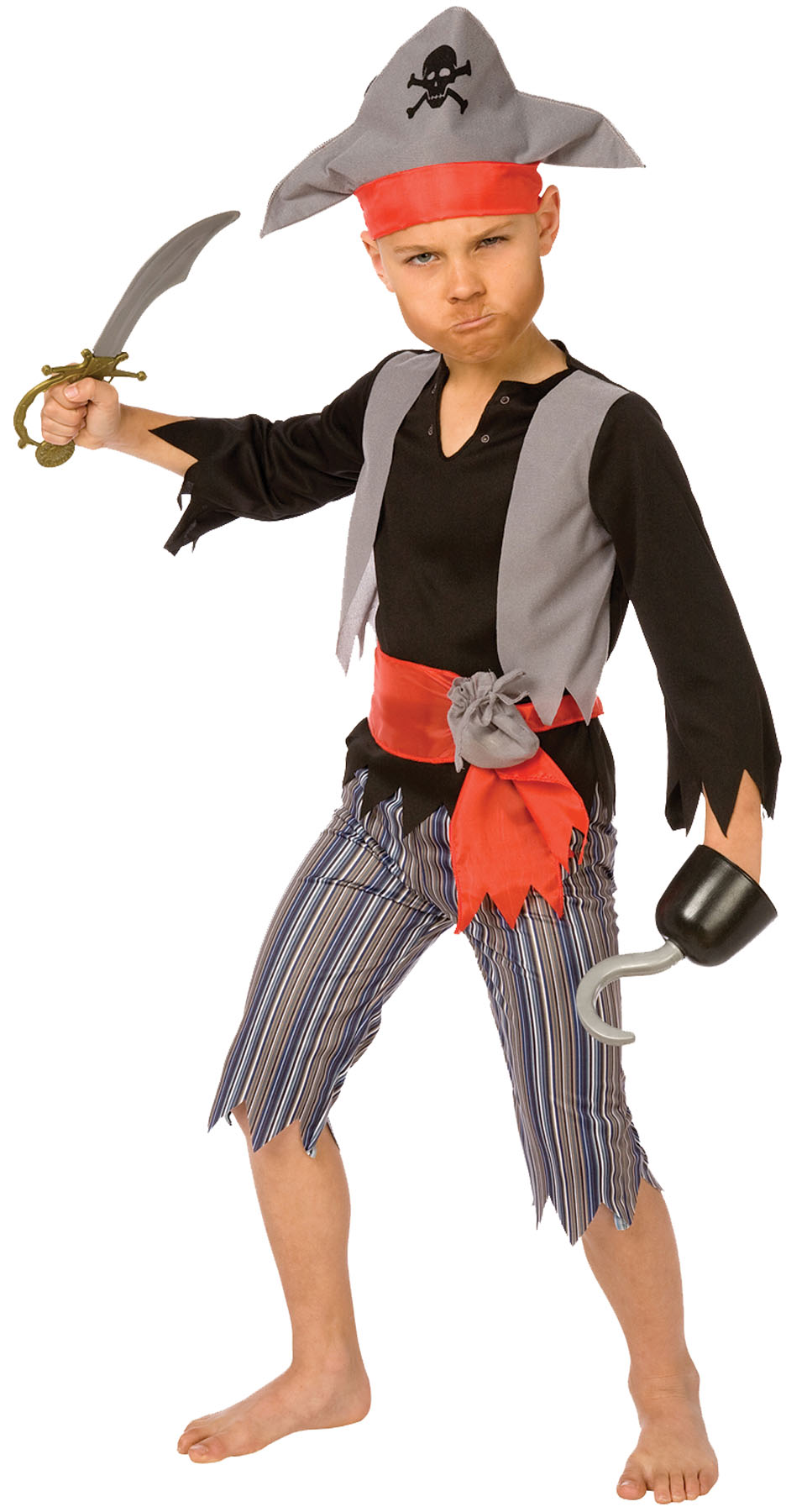 Living Fiction Ragged Swashbuckler Pirate Captain 4pc Boy Costume, Grey Red by Palamon