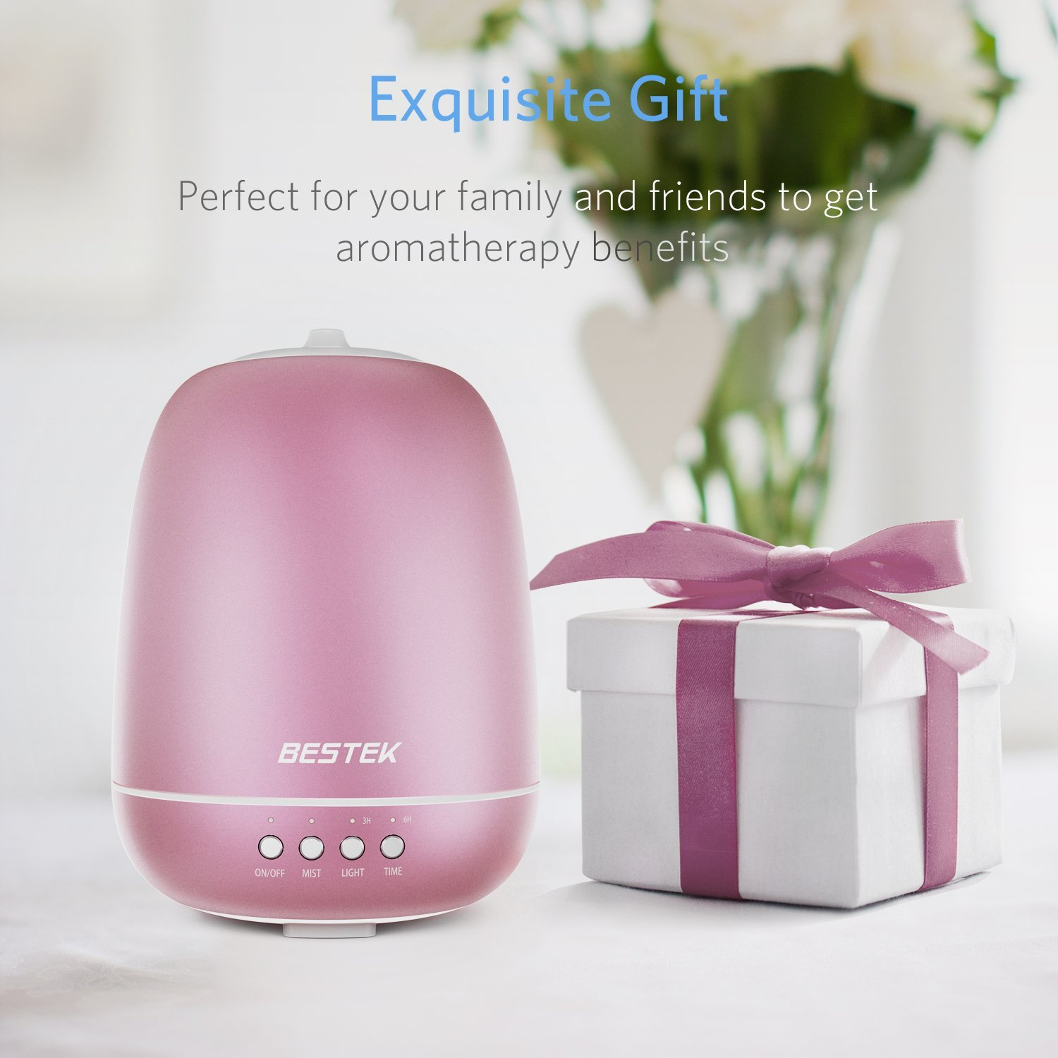 BESTEK 350ml Aromatherapy Essential Oil Diffuser Ultrasonic Cool Mist Humidifier with 360 ° Rotating Spraying and Changing Colored LED Lights, Waterless Auto Shut-off and Adjustable Mist Mode