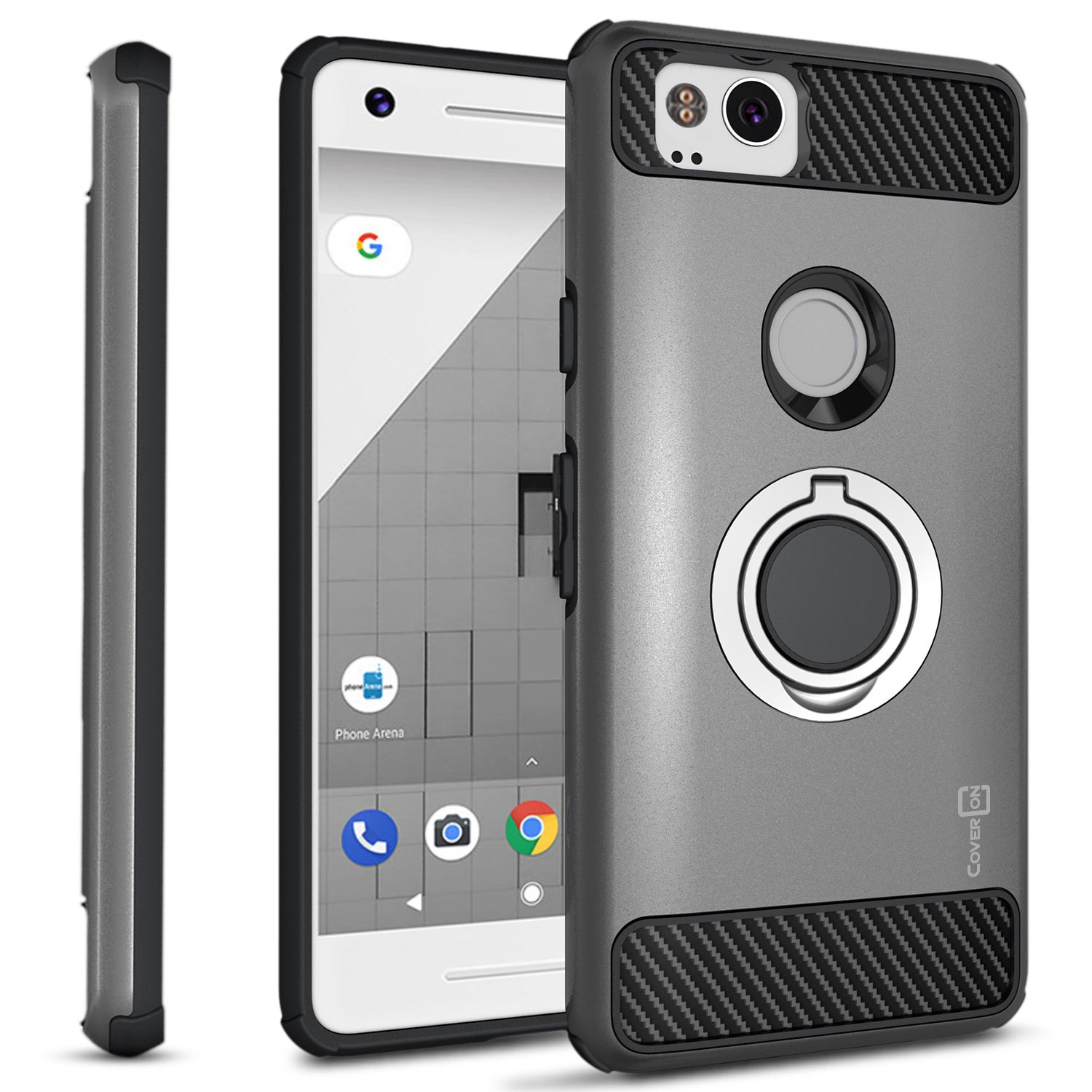 CoverON Google Pixel 2 Case with Ring Holder, RingCase Series Hybrid Protective Dua Layer Phone Cover