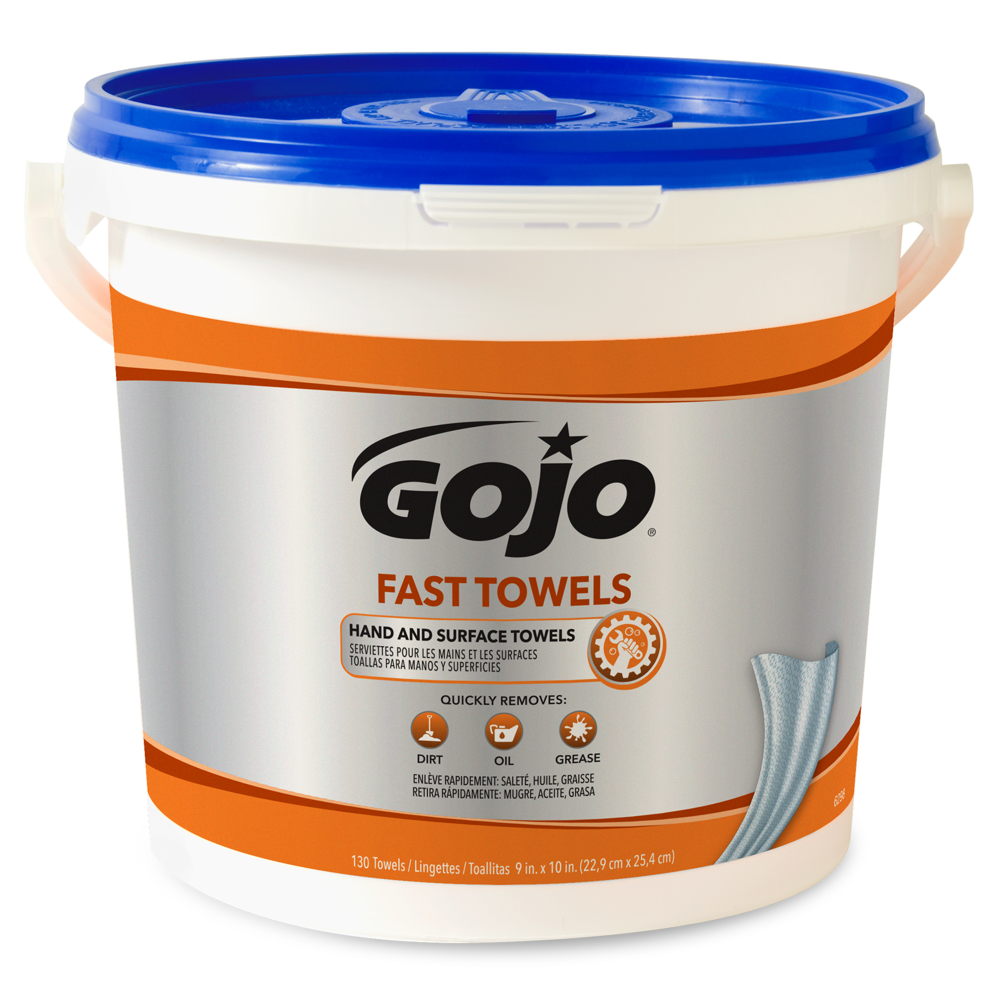 FAST TOWELS Hand Cleaning Towels, 7 3/4 x 11, 130/Bucket, 4 Buckets/Carton - GOJ6298