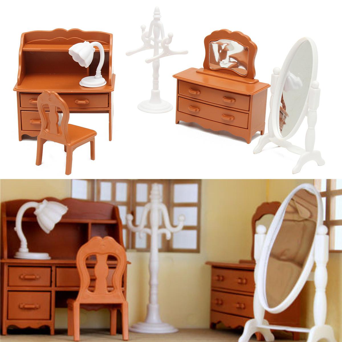 Marsin Vintage Plastic Miniature DollHouse Furniture Set Bedroom Decor Kids Toy Gifts