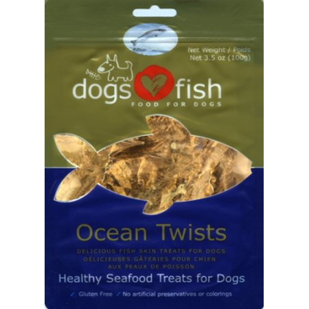 Dogs love fish ocean jerky twists dog treat 3 5 oz for Is fish good for dogs
