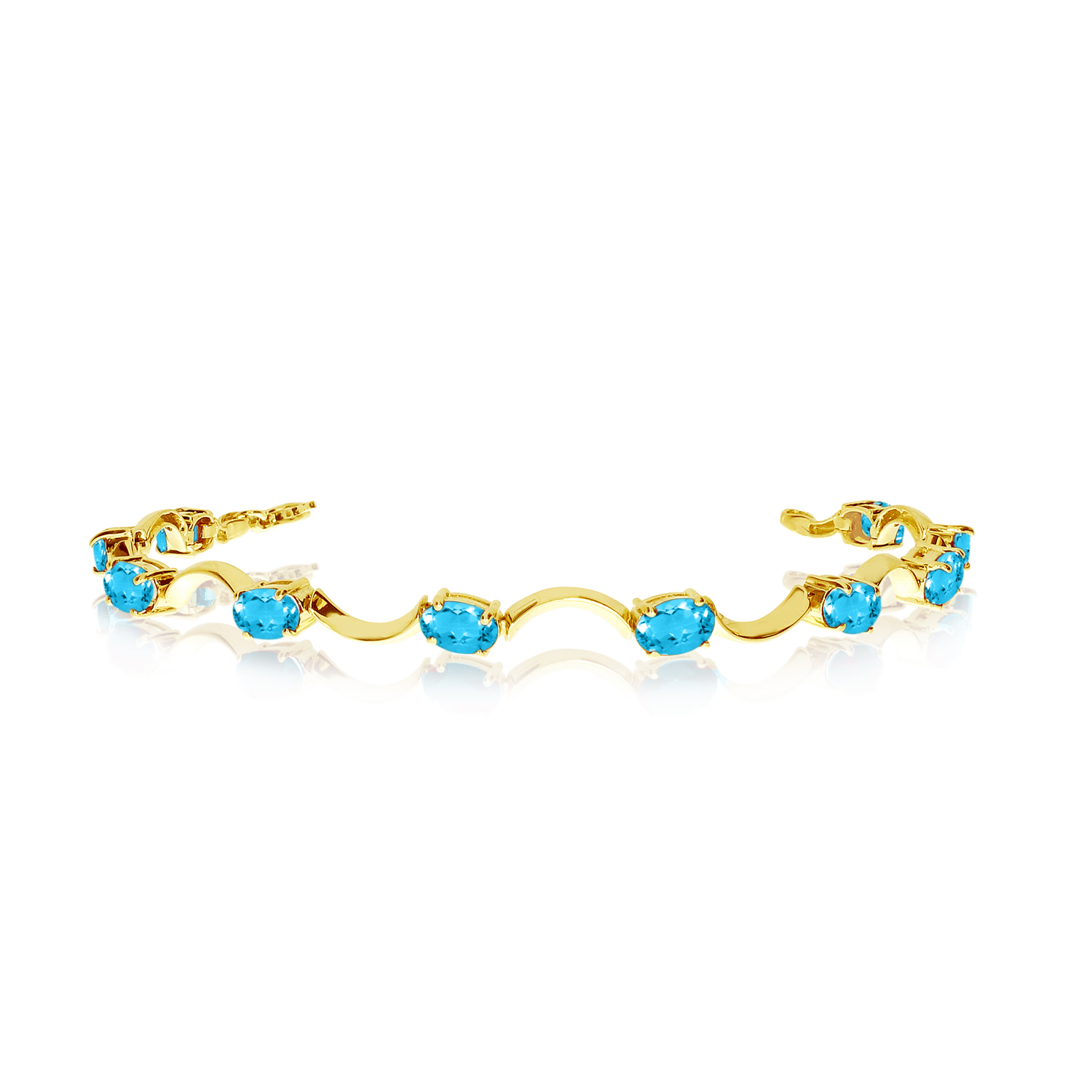 14K Yellow Gold Oval Blue Topaz Curved Bar Bracelet by