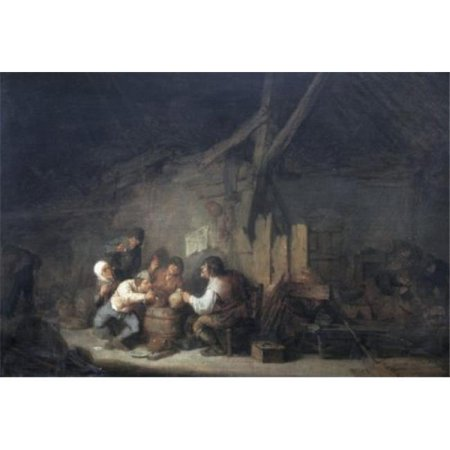 Posterazzi SAL900143741 Peasants Drinking & Smoking in an Interior Adriaen Van Ostade 1610-1685 Dutch Oil on Wood Panel Print - 18 x 24 in. - image 1 of 1