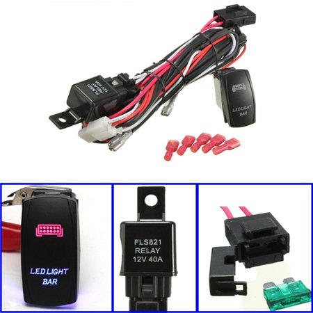 1 Set Universal LED Work Light Bar Laser Rocker Switch Wiring Harness Kit Loom W/ 40A Relay Fuse for Cars Truck Motorcycle Boat