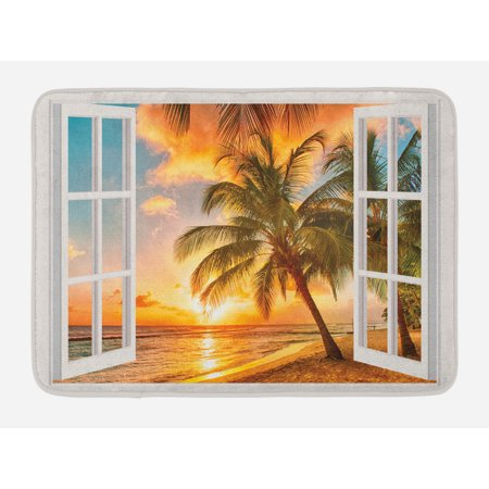 Beach Bath Mat, Sea Ocean Palm Tree Sunset Scenery House Wooden Windows of Art Pictures, Non-Slip Plush Mat Bathroom Kitchen Laundry Room Decor, 29.5 X 17.5 Inches, Brown White Yellow Blue, Ambesonne