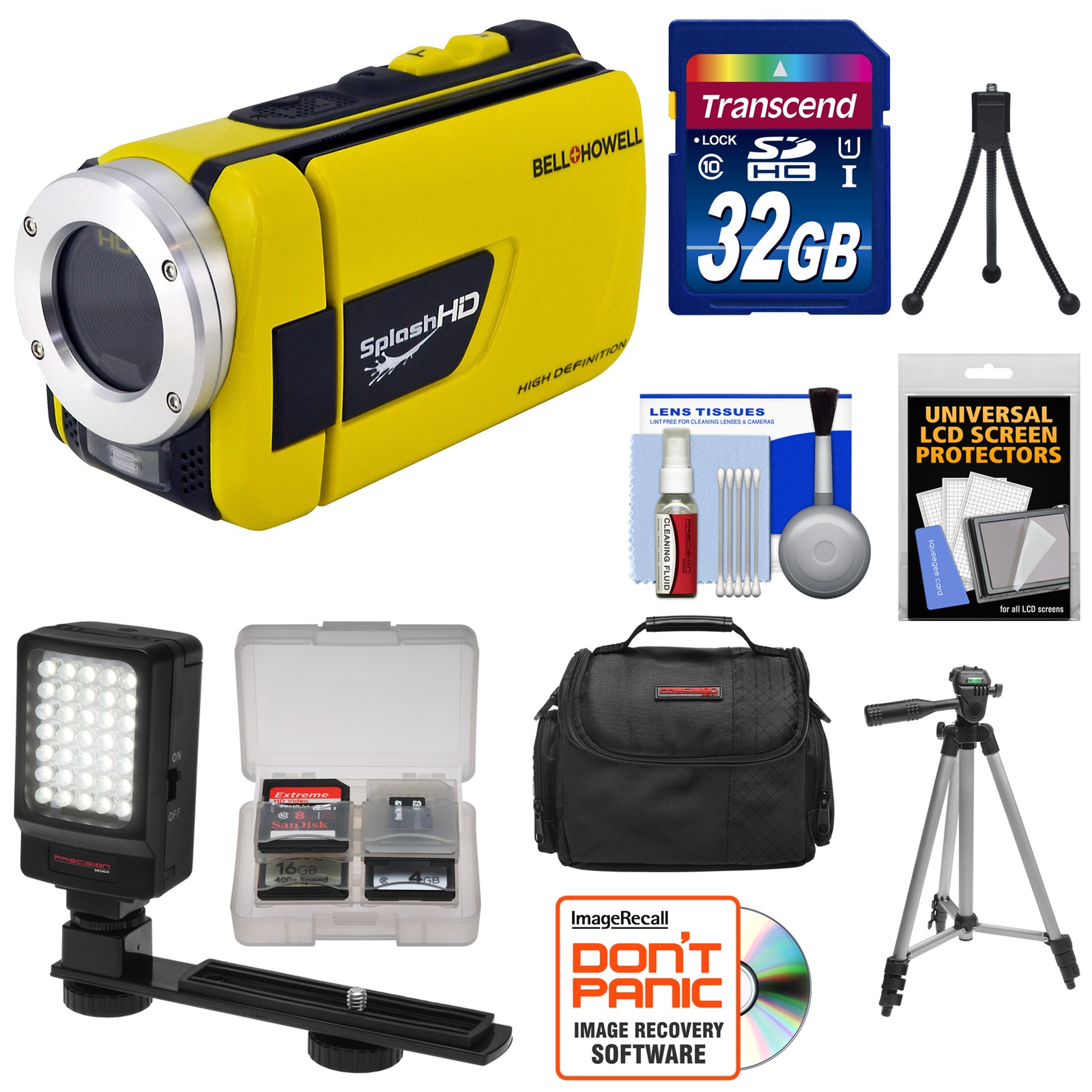 Bell & Howell Splash HD WV30 Waterproof Digital Video Camera Camcorder (Yellow) with 32GB Card + Case + LED Light & Bracket + Tripods + Accessory Kit