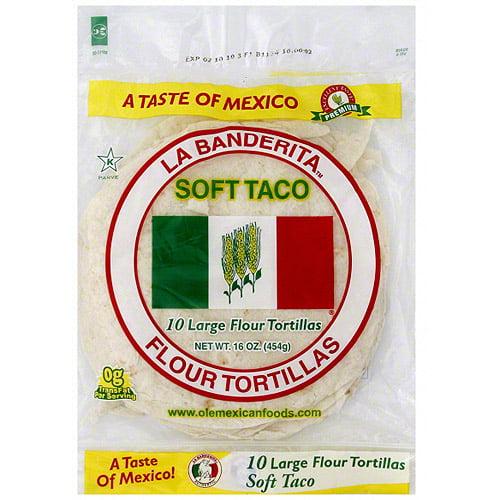 La Banderita Large Soft Taco Flour Tortillas, 16 oz (Pack of 12)