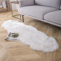 Deluxe Soft Faux Sheepskin Fur Series Decorative Indoor Area Rug 2 x 6 Feet, white, 1 Pack