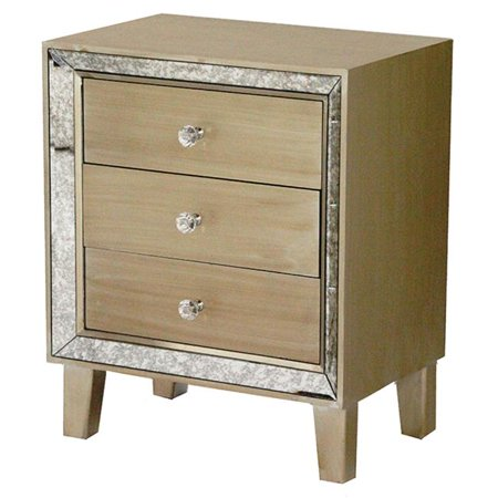 Bon Marche 3-Drawer Accent Cabinet with Antiqued Mirror Accents - Champagne