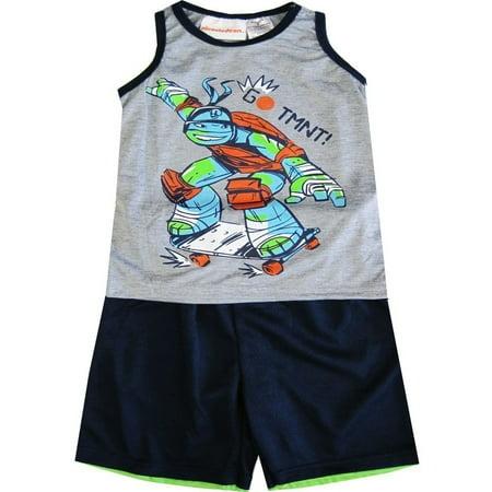 TNT Ninja Turtles Little Boys Grey Sleeveless 2 Pcs Basketball Shorts Set 4-7 (Ninja Turtle T Shirt)