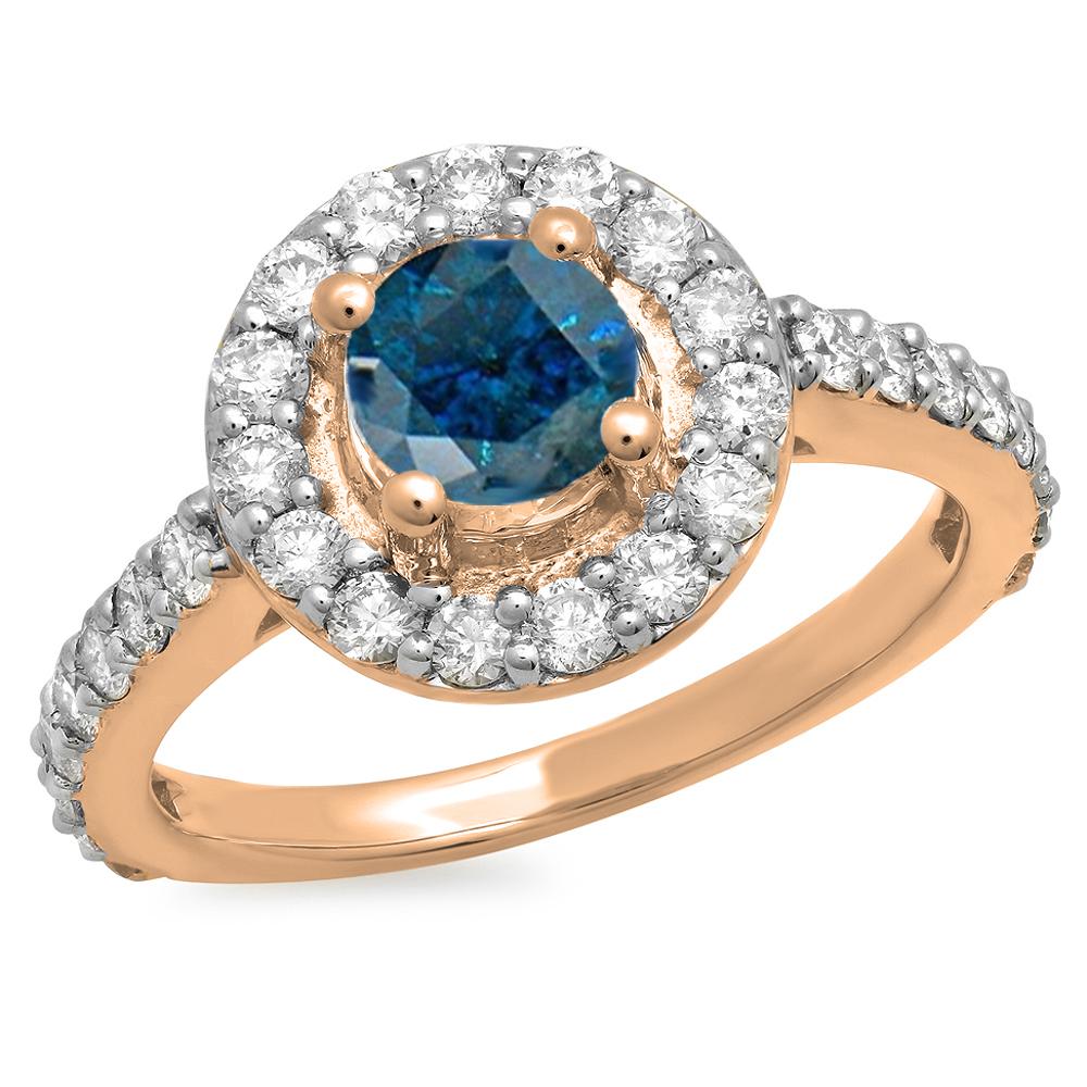 1.00 Carat (ctw) 10K Rose Gold Round Blue & White Diamond Ladies Halo Style Bridal Engagement Ring 1 CT