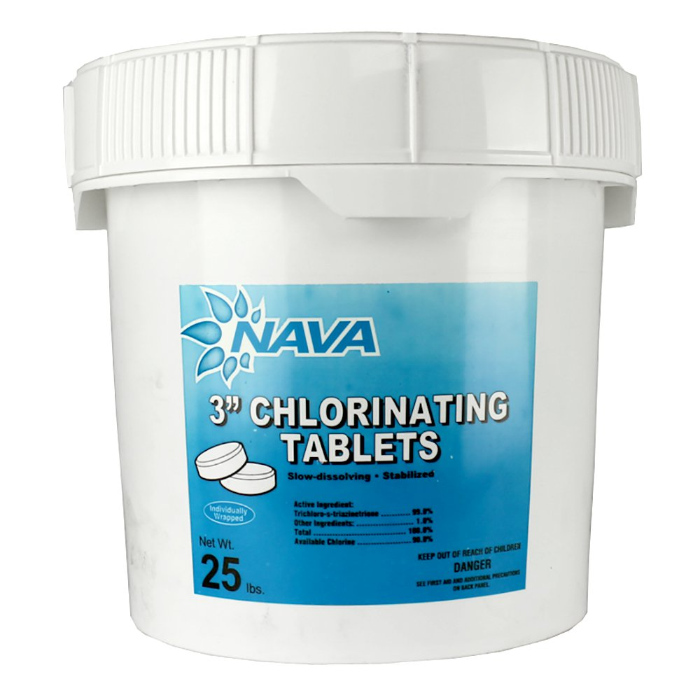 Nava 3-Inch Pool/Spa Stabilized Chlorinating Tablets, 25 Pounds | 12000294-25LB