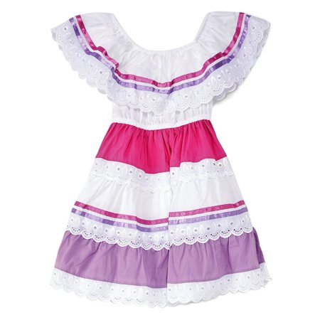 unik Girl's Traditional Mexican Cinco De Mayo Fiesta Dress Lilac Size 4 (Tematicas Para Fiesta De Halloween)