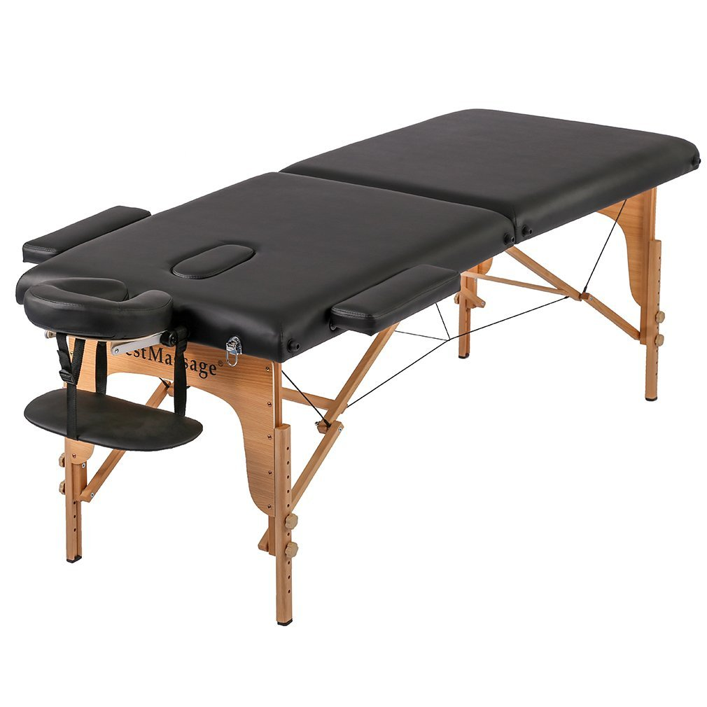 "2"" Pad 73"" PU Portable Massage Table w/Free Carry Case Bed Spa Facial"