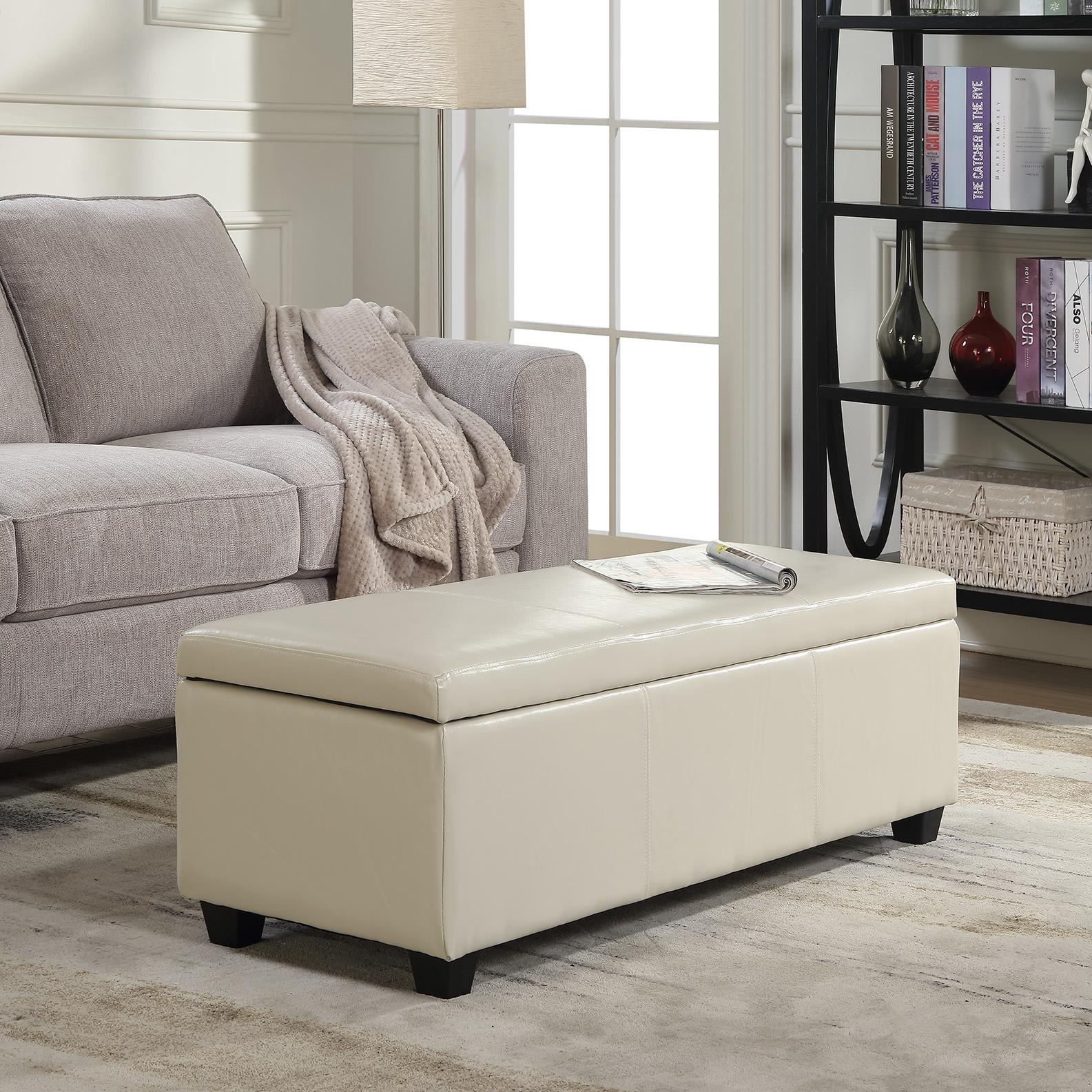 """Belleze Modern Elegant Ottoman Storage Bench Faux Leather 48"""" inch -Cream"""