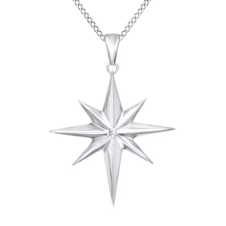 Natural Diamond Accent North Star Pendant Necklace In 14K White Gold Over Sterling Silver