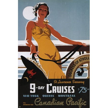 9 Day Cruises Vintage Travel Ad Poster By Tom Purvis Canada 1938 24X36