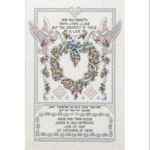 "Platinum Collection  Wedding Doves Counted Cross Stitch Kit-12""X17"" 14 Count"