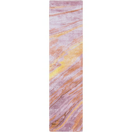 2.5' x 8' Painted Skies Lavender Purple, Cherry Red and Burnt Orange Hand Tufted Area Throw Rug (Hand Painted Cherry)
