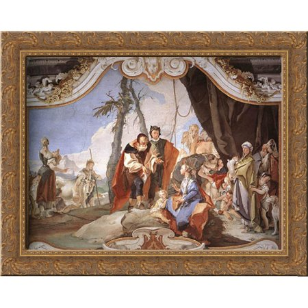 Rachel Hiding The Idols From Her Father Laban 24X20 Gold Ornate Wood Framed Canvas Art By Tiepolo  Giovanni Battista