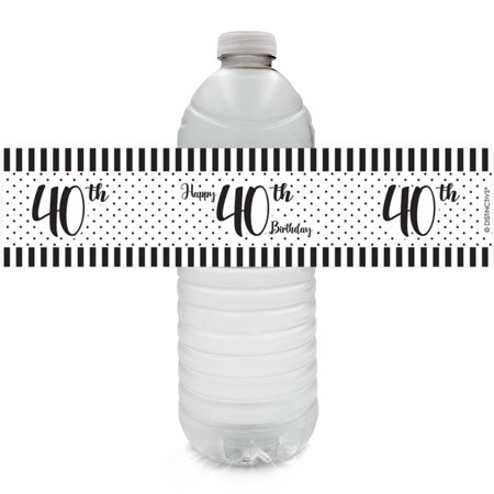 40th Birthday Water Bottle Labels, 24ct - Black and White Stripe and Polka Dot Birthday Party Supplies - 24 Count Stickers