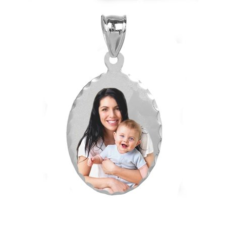 - Personalized Sterling Silver, Gold Plated, 10k or 14k Oval Diamond Cut Bordered Color Photo Charm