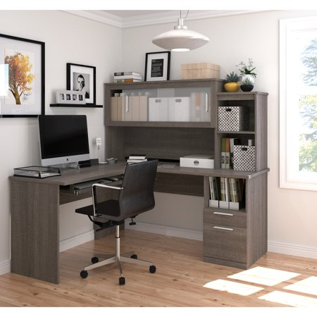 Dayton by Bestar L-Shaped desk in Bark Gray