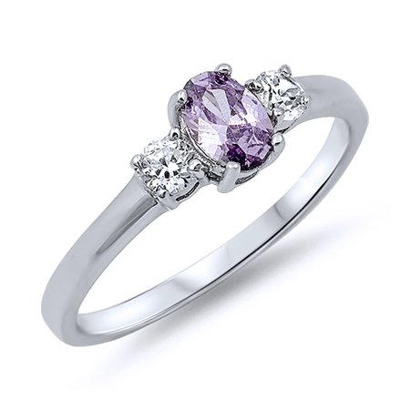 Men Women Sterling Silver Oval Violet Purple Color CZ Three Stone Anniversary Ring 6MM ( Size 4 to 12 )