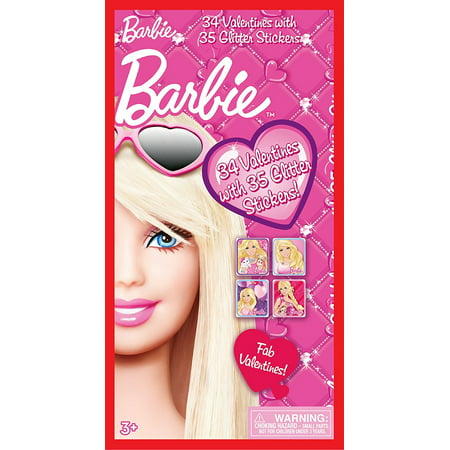 Paper Magic 34CT Deluxe - Glitter Stickers Barbie Kids Classroom Valentine Exchange Cards