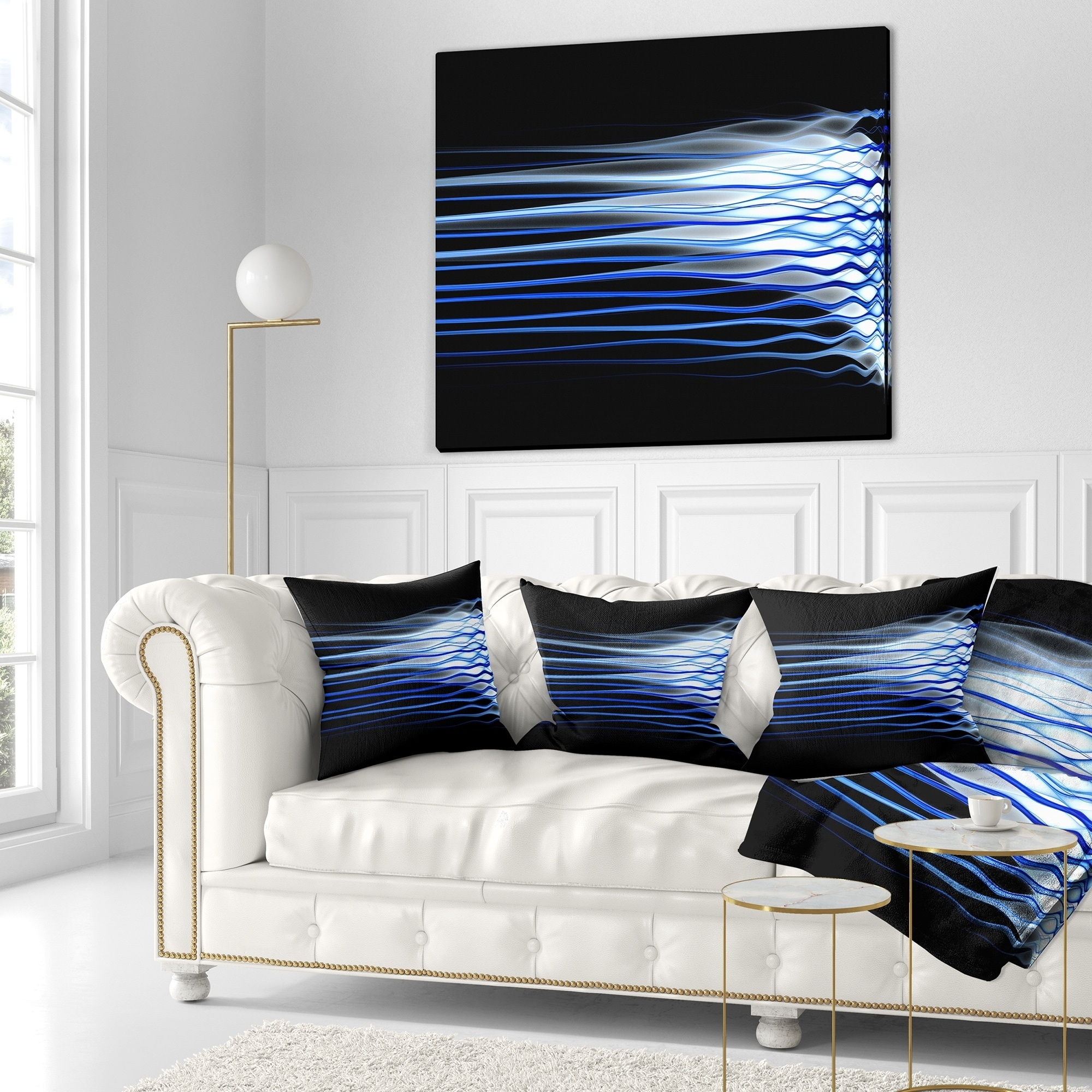 Insert Printed on Both Side Sofa Throw Pillow 26 in x 26 in in Designart CU16421-26-26 Dark Blue Fractal Waves Abstract Cushion Cover for Living Room