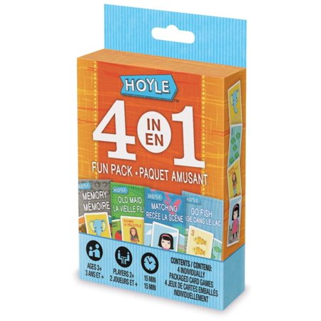 Hoyle 4-IN-1 Fun Pack Classic Card Games - Memory, Old Maid, Go Fish, Matching (Old Card Games)