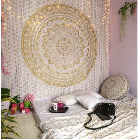 Golden Tapestry Boho Mandala Hippie Tapestries Bohemian Mandala Tapestry Wall Hanging Indian Gold Throw