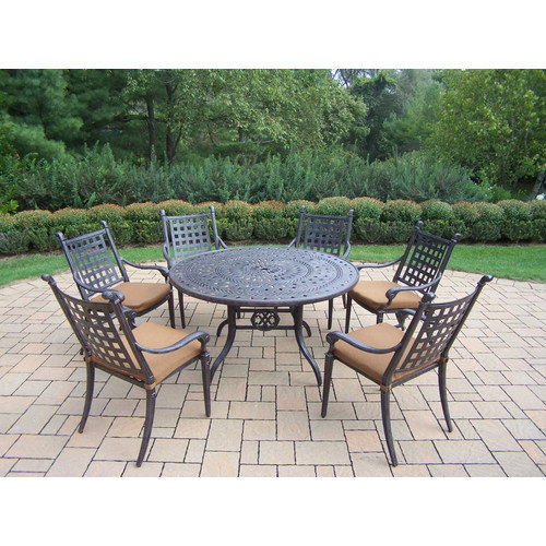 Oakland Living Belmont 7 Piece Metal Patio Dining Set in Aged